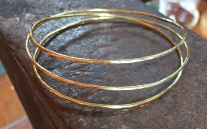 Three ring hammered brass bangle