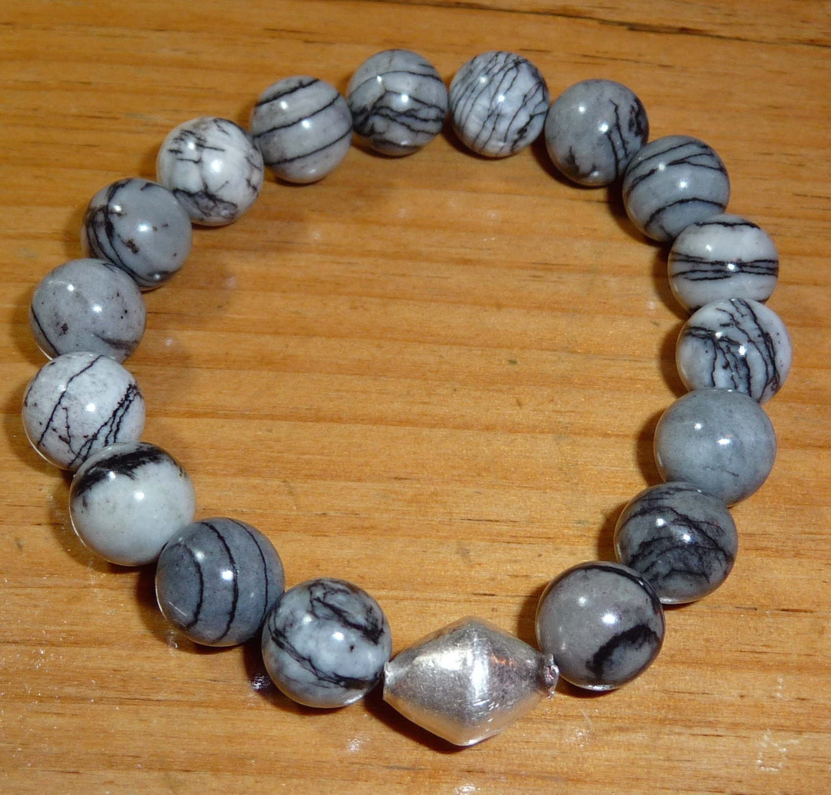 Smokey grey with Thai silver bead