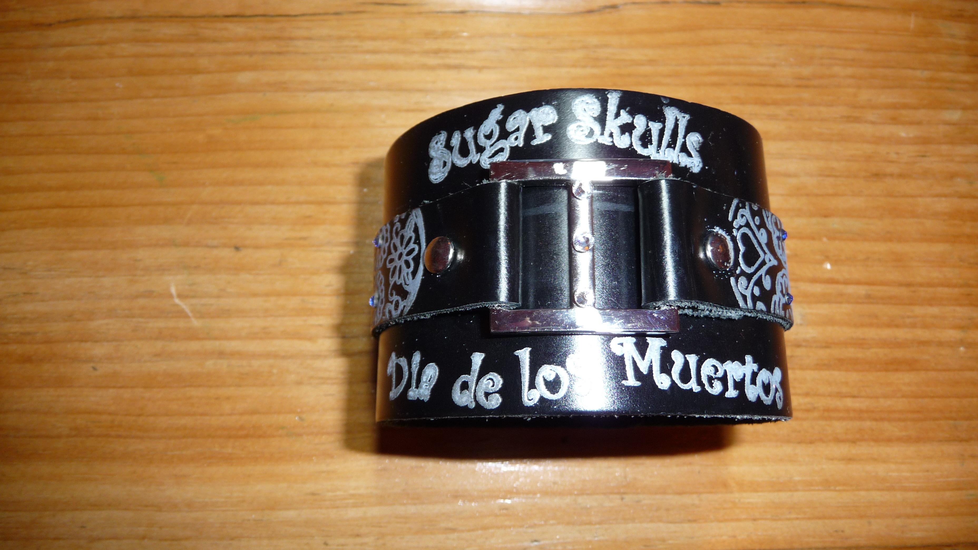 Dia de los Muertos black cuff
