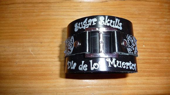 """Black leather """"Dia de los Muertos"""" bracelet"""