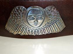 """""""Ethiopian Angel"""" on leather cuff"""
