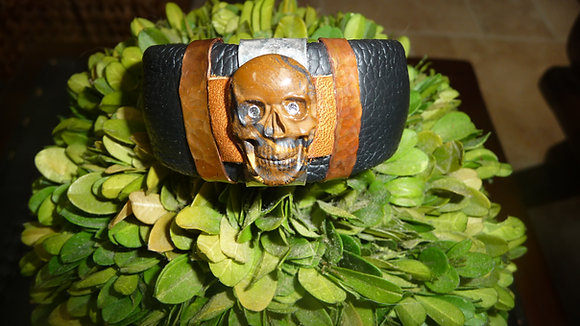 Biker Chick leather skull bracelet