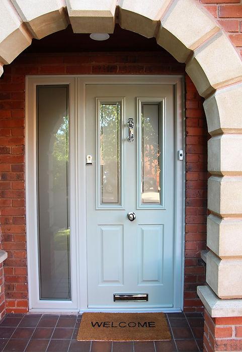white door, white front door, door knob, anti snap lock, anti-snap lock, door bell, door knocker, glass door