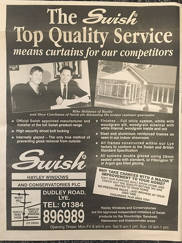 The Stourbridge Chronicle advertisment for Hayley Windows and conservatories Conservatory base being built, The West Milands New Conservatory Stourbridge, Conservatory roof upgrade the west midlands, New consrvatory roof, new orangery, new garden room, upgrade conervatory, extension, conservatory installer, replacement conservatory hagley, conservatory upgrade Stourbrdge, new conservatory stourbridge