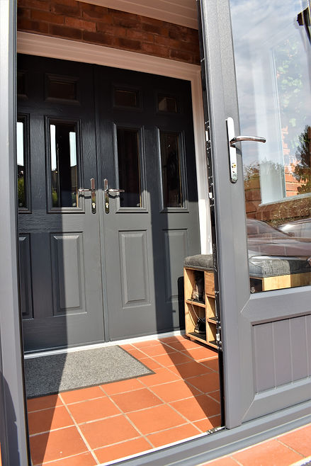 Porch, Grey doors, Grey front doors, Hagley windows, stourbridge windows, big windows, traditional doors, modern doors, traditional windows, modern windows