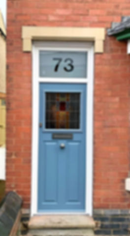 lead glazing, twilight grey, coloured glass, church glass, customized glass, house number, fire exit, front entry