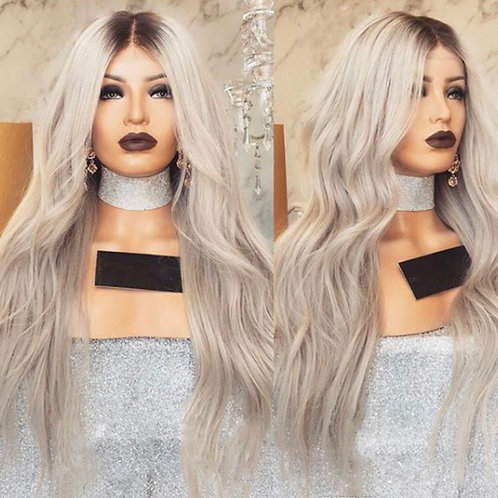 Bodywage Ash Gray Blond/Black root Synthetic Lace Frontal Wig