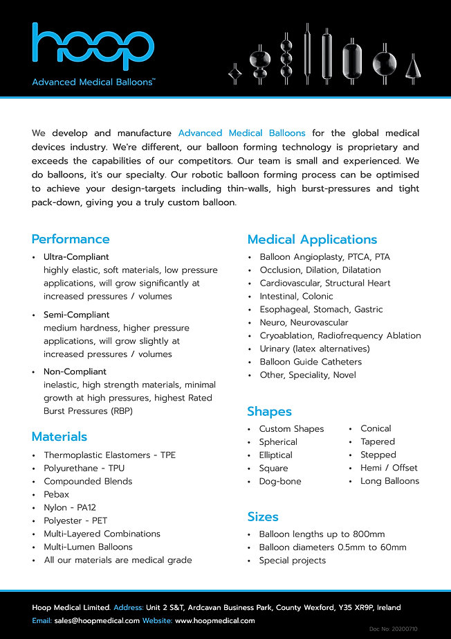 Hoop Medical Balloons - One Pager - 2020