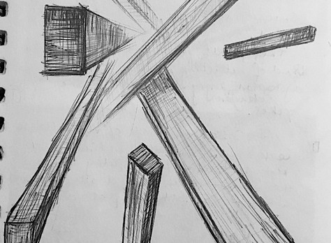 Collapse abstract observational sketches