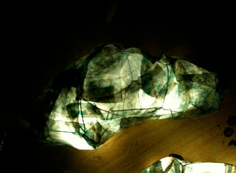 Small cocoon prototypes illuminated