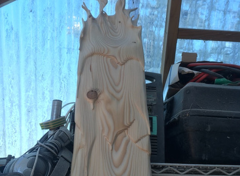 Sculpting the wooden splash (Smash The Patriarchy)