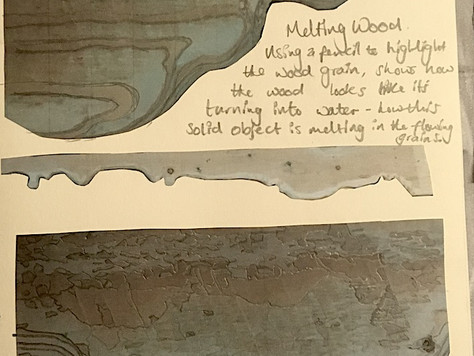 Melting wood emphasis