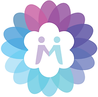 Menta logo, a flower surrounding an M made of two people holding hands colored with a blue-purple gradient.
