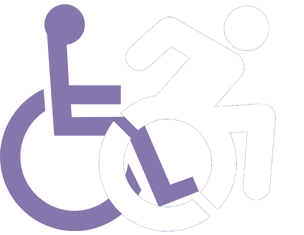 A logo of a man in a wheel chair, and in front of him is a man moving forward on his wheelchair