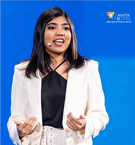 Jhillika, Mentra's founder, delivers speech at 2019 Grace Hopper Conference.
