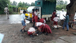 Clean up drive with school children