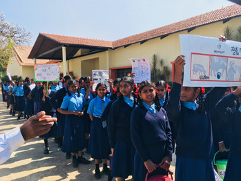 Awareness march with kids from the government school