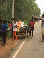 Clean up drive with children and village panchayat