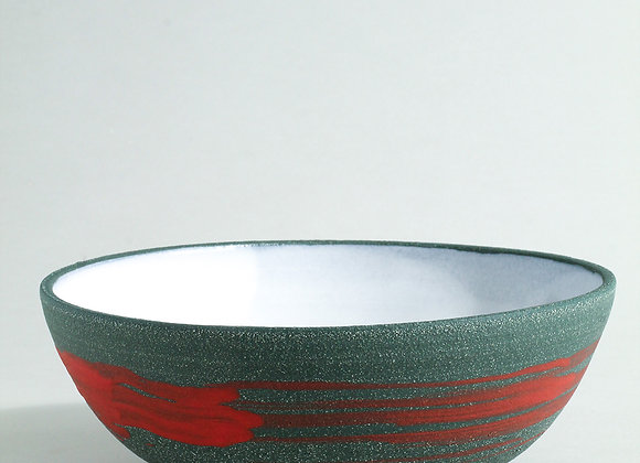 Sea Green Serving Bowl with Red Brush and Dolomite Glaze