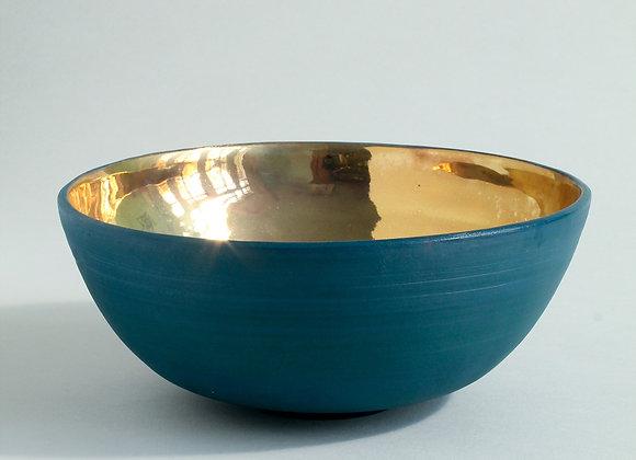 Large Sea Green Gold Lustre Bowl