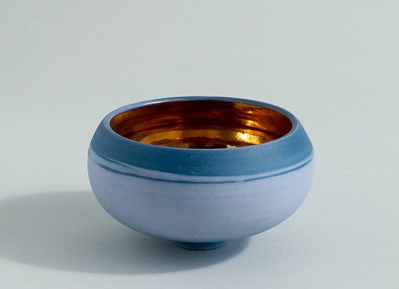Small Cobalt Blue Porcelain Bowl with Gold Lustre