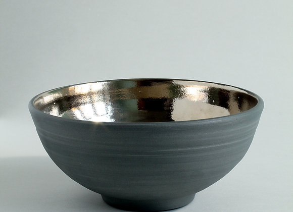 Contemporary Grey and Platinum Lustre Bowl