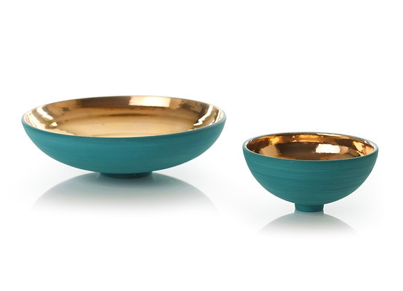 Sea green and gold lustre bowl