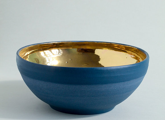 Large Cobalt Blue and Gold Lustre Bowl