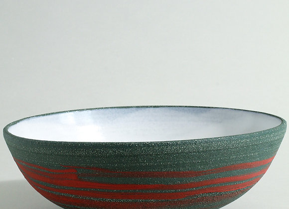 Sea Green Stoneware Serving Bowl with Red Slip and Dolomite Glaze