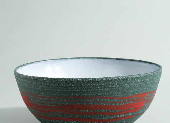 Sea green stoneware bowl with red slip and dolomite glaze