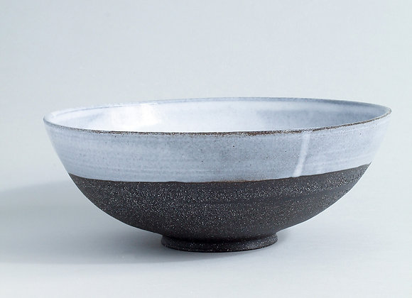 Charcoal Stoneware Serving Bowl with Dolomite Glaze