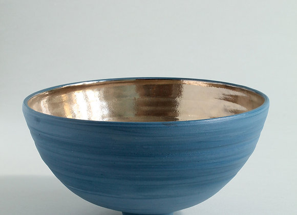 Little Cobalt Blue Porcelain Bowl with Gold Lustre