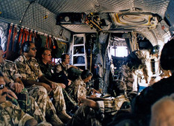 Chinook. In flight across Oman