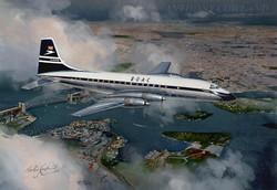 Bristol Britannia BOAC over Sydney Australia