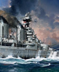HMS Hood going into battle