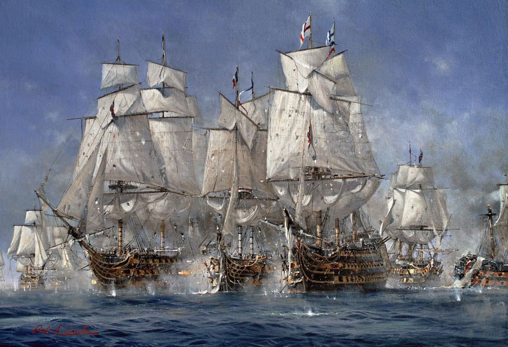 HMS Victory and HMS Temeraire. Battle of Trafalgar
