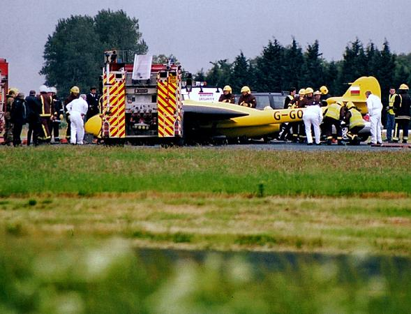 De Havilland Vampire after belly landing. Biggin Hill