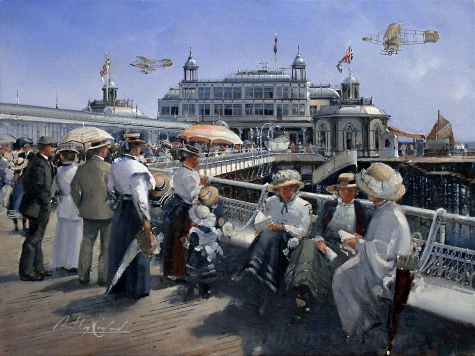 Brighton West Pier 1910 with Bristol Boxkites