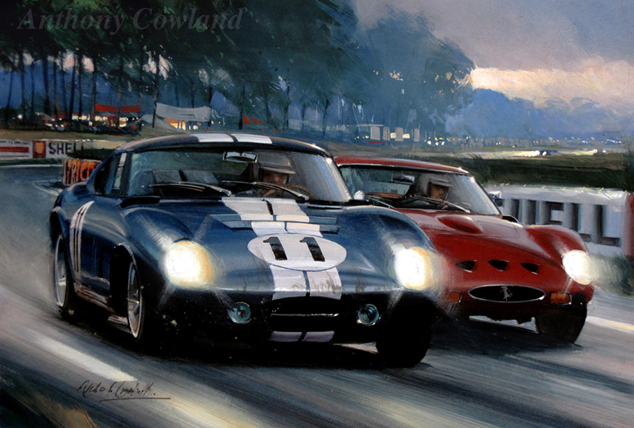 Shelby Cobra and Ferrari. Le Mans