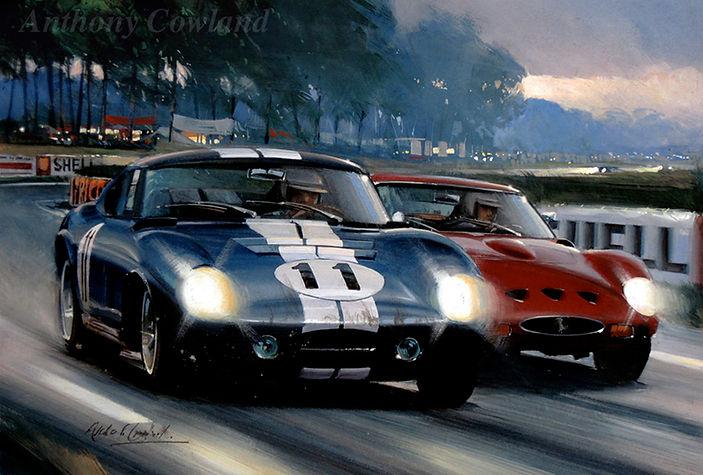 Shelby Cobra and Ferrari. Le Mans.jpg