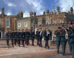 St James Palace. Gurkha Band and QOGLR Public Duties.