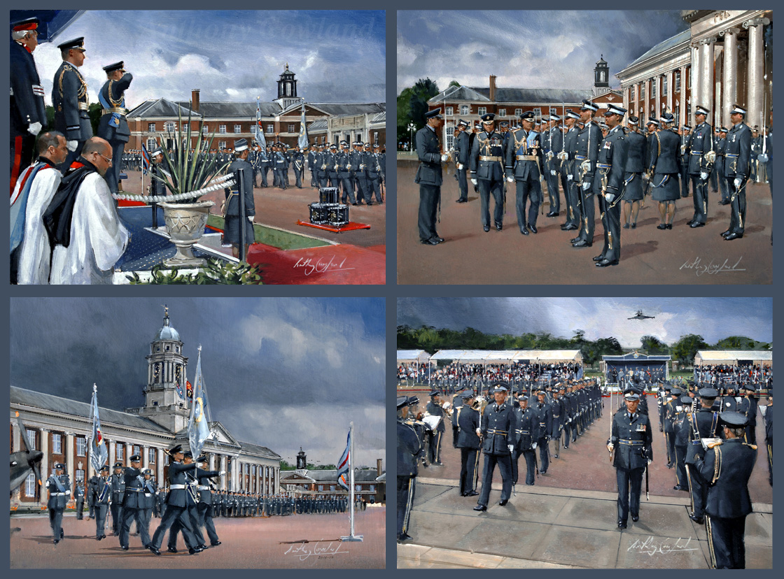 RAF Cranwell Passing out Parade. Oil sketches