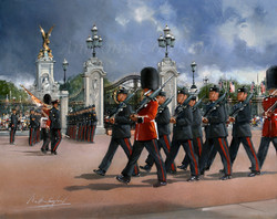 Buckingham Palace Forecourt. Changing of the Guard, Gurkhas and Welsh Guards.