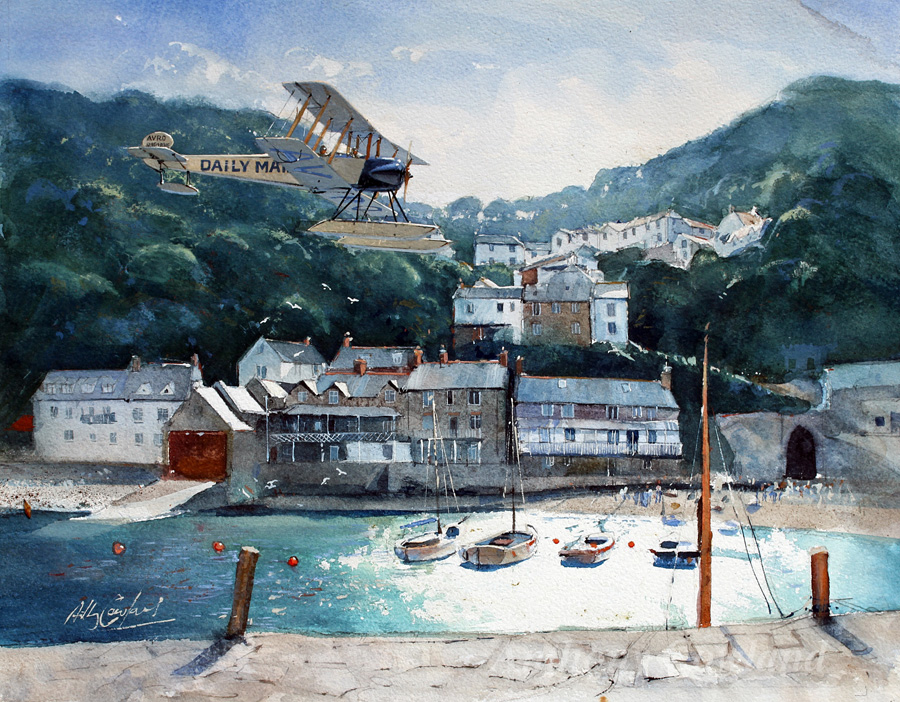 Avro 504 over Clovelly harbour