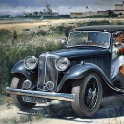Jaguar at Pevensey Bay 1950