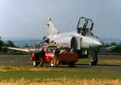 McDonnell Douglas Phantom. Burst tyre on landing