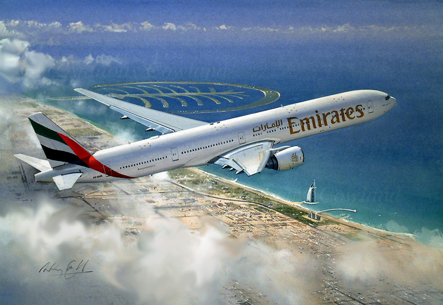 Airliner 777 Emirates over Dubai