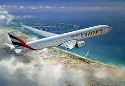 Airliner 777 Emirates over Dubai