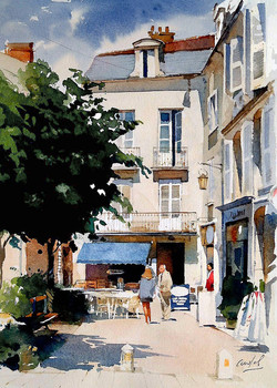 Qimper France. Lady in red