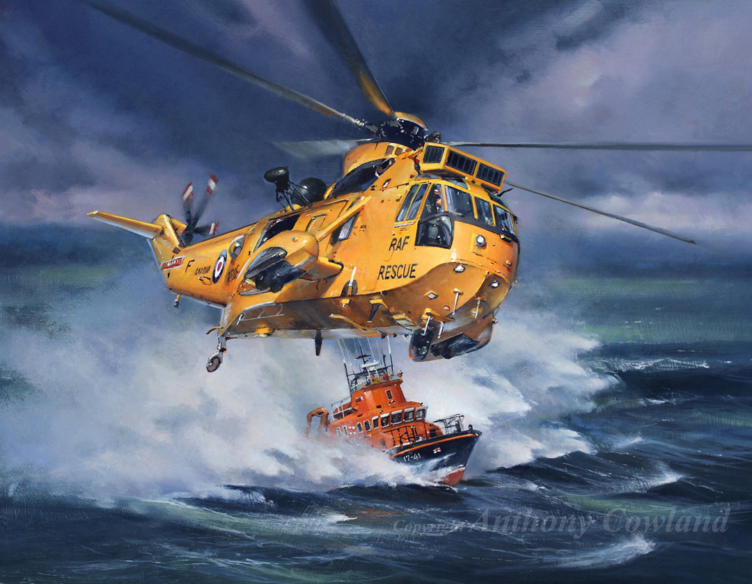 RAF Sea King and Holyhead lifeboat